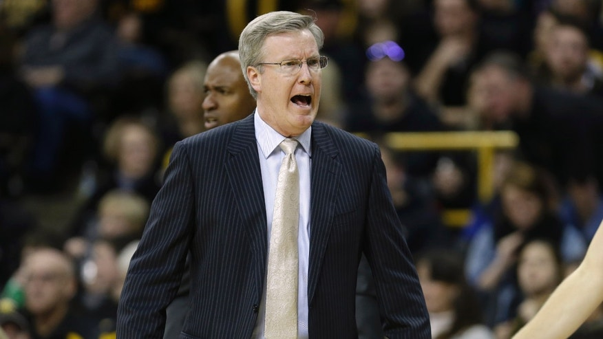 Iowa coach Fran McCaffery reacts during the second half of an NCAA college basketball game against Indiana, Monday, Dec. 31, 2012, in Iowa City, Iowa. (AP Photo/Charlie Neibergall)