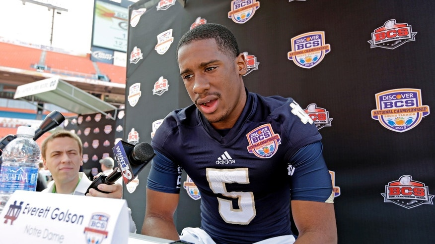 Notre Dame quarterback Everett Golson answers a question during Media Day for the BCS National Championship college football game Saturday, Jan. 5, 2013, in Miami. Notre Dame faces Alabama in Monday's championship game.(AP Photo/Chris O'Meara)