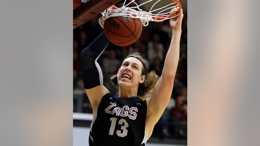Gonzaga's Kelly Olynyk scores against Santa Clara in the first half of an NCAA college basketball game Saturday, Jan. 5, 2013, in Santa Clara, Calif. (AP Photo/Ben Margot)
