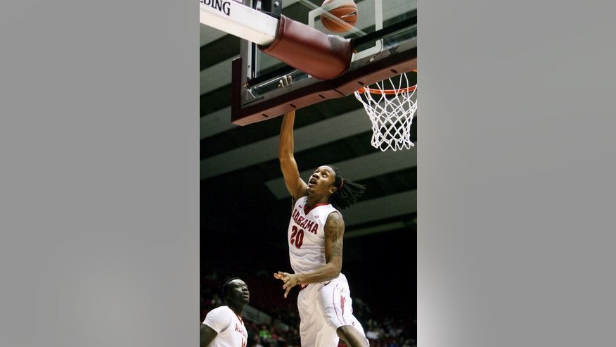 Alabama guard Levi Randolph (20) takes a shot during an NCAA college basketball game against Oakland at Coleman Coliseum in Tuscaloosa, Ala., Saturday, Jan. 5, 2013. (AP Photo/Tuscaloosa News, Michelle Lepianka Carter)