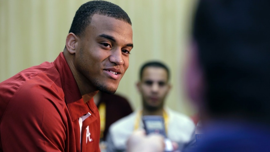 Alabama defensive back Dee Milliner answers questions during a media availability, Friday, Jan. 4, 2013, in Fort Lauderdale, Fla. Alabama is scheduled to play Notre Dame on Monday in the BCS championship NCAA college football game. (AP Photo/Wilfredo Lee)