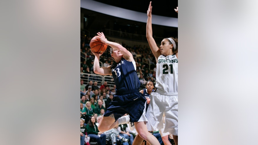 Penn State's Maggie Lucas (33) shoots against Michigan State's Klarissa Bell (21) during the first half of an NCAA college basketball game on Sunday, Jan. 6, 2013, in East Lansing, Mich. (AP Photo/Al Goldis)