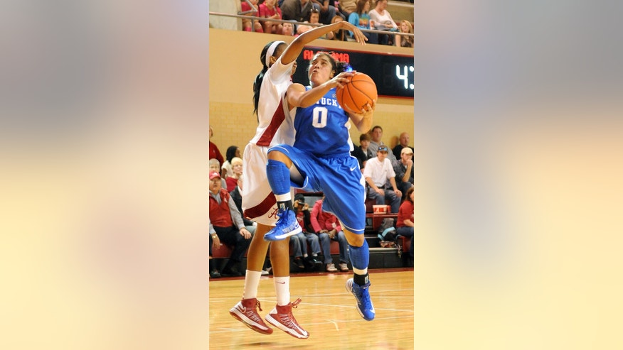 Kentucky's Jennifer O'Neill (0) drives past Alabama's Kaneisha Horn for a layup during the second half of their NCAA women's college basketball game in Tuscaloosa, Ala., Sunday, Jan. 6, 2013. (AP Photo /Jason Harless)