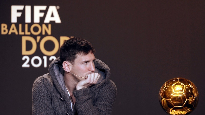 Argentina's Lionel Messi, one of the nominees for the FIFA Men's World Soccer Player of the Year Award,attends  a press conference  at  the FIFA Ballon d'Or Gala 2013 held at the Kongresshaus in Zurich, Switzerland, on Monday, Jan. 7, 2013. (AP Photo/Keystone/Walter Bieri)