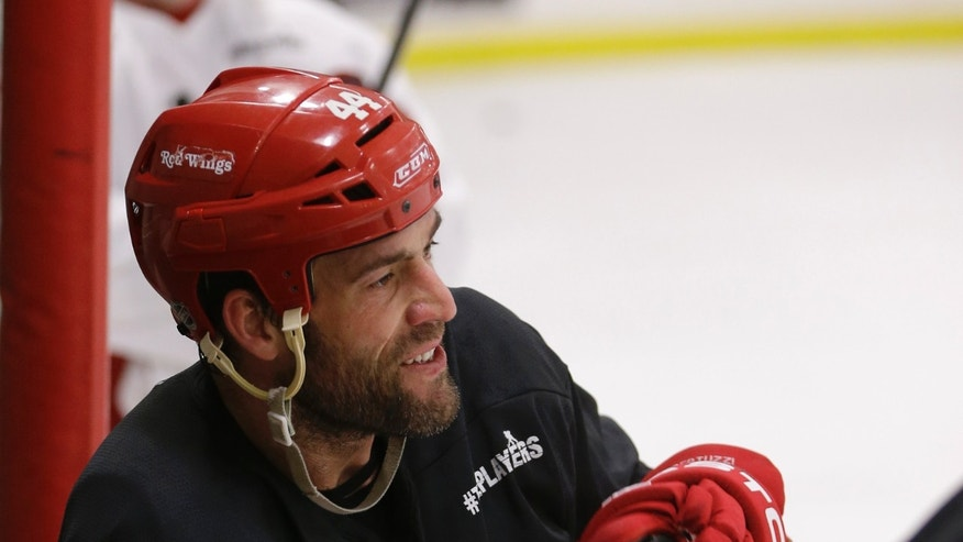 Detroit Red Wings forward Todd Bertuzzi is seen during a break in drills at the Troy Sports Center in Troy, Mich., Monday, Jan. 7, 2013. While lawyers work on putting a new collective bargaining agreement on paper, NHL players have a little more of a sense of urgency during informal workouts they've been putting together during the lockout. (AP Photo/Carlos Osorio)