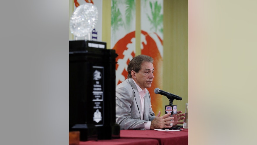 Alabama head coach Nick Saban speaks during a BCS National Championship college football game news conference Tuesday, Jan. 8, 2013, in Ft. Lauderdale, Fla. Alabama defeated Notre Dame 42-14 Monday night to win the national championship. (AP Photo/Morry Gash)