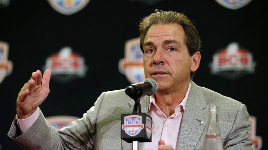 Alabama head coach Nick Saban speaks at a BCS National Championship college football game news conference Tuesday, Jan. 8, 2013, in Ft. Lauderdale, Fla. Alabama defeated Notre Dame 42-14 Monday night to win the national championship. (AP Photo/Morry Gash)