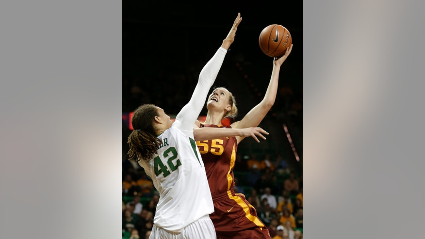Baylor's Brittney Griner (42) defends as Iowa State's Anna Prins shoots in the first half of an NCAA college basketball game on Wednesday, Jan. 9, 2013, in Waco, Texas. (AP Photo/Tony Gutierrez)
