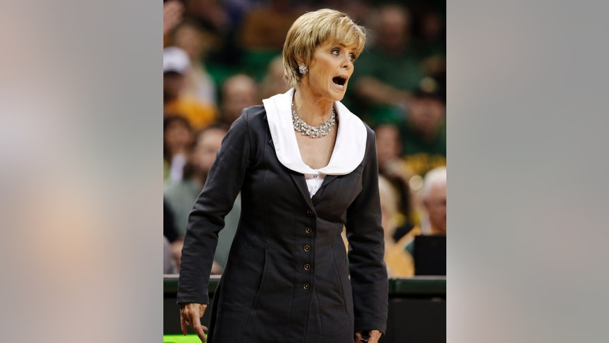Baylor head coach Kim Mulkey shouts for a foul to an official against Iowa State in the first half of an NCAA college basketball game, Wednesday, Jan. 9, 2013, in Waco, Texas. (AP Photo/Tony Gutierrez)