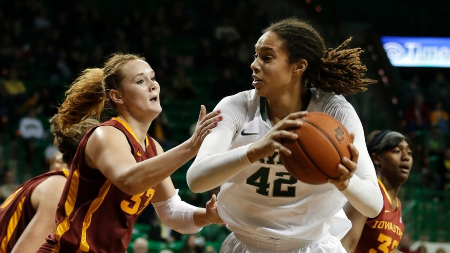 Iowa State's Chelsea Poppens, left, defends as Baylor's Brittney Griner (42) looks for an opening to the basket in the second half of an NCAA college basketball game on Wednesday, Jan. 9, 2013, in Waco, Texas. Baylor defeated Iowa State 67-39. (AP Photo/Tony Gutierrez)