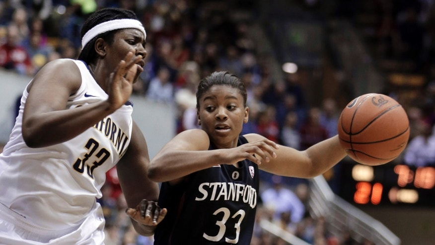 Stanford's Amber Orrange, right, drives the ball against California's Talia Caldwell in the first half of an NCAA college basketball game Tuesday, Jan. 8, 2013, in Berkeley, Calif. (AP Photo/Ben Margot)