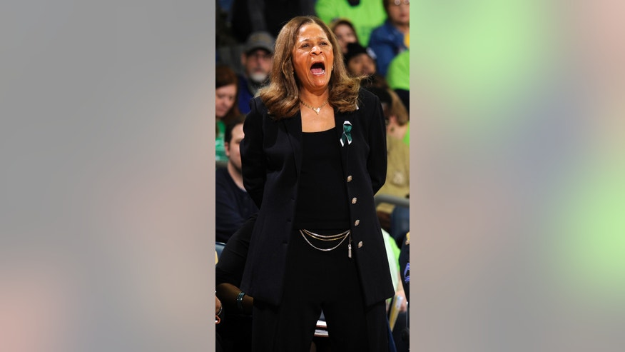 Rutgers coach C. Vivian Stringer yells instructions to her team during the first half of an NCAA college basketball game against Notre Dame, Sunday, Jan. 13, 2013, in South Bend, Ind. (AP Photo/Joe Raymond)