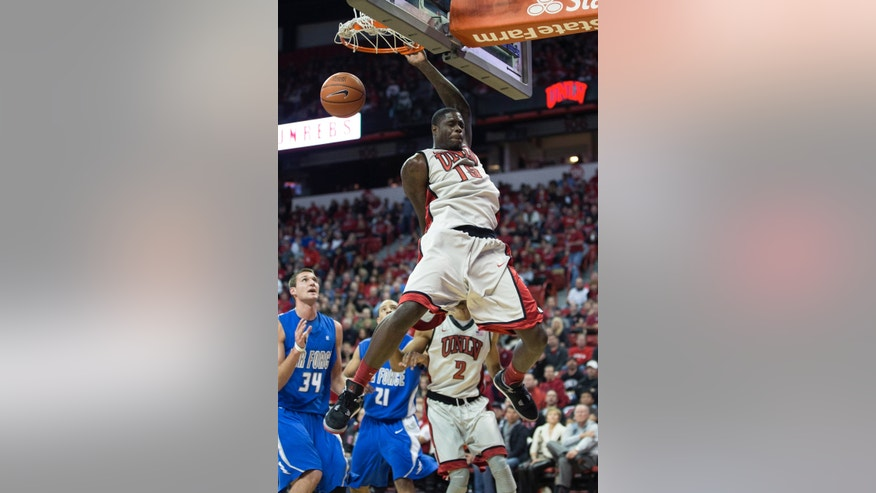 UNLV forward Anthony Bennett (15) dunks the ball during the second period of their NCAA college basketball game against Air Force, Saturday, Jan. 12, 2013, at The Thomas & Mack Arena in Las Vegas. UNLV defeated Air Force 76-71 in overtime. (AP Photo/Eric Jamison)