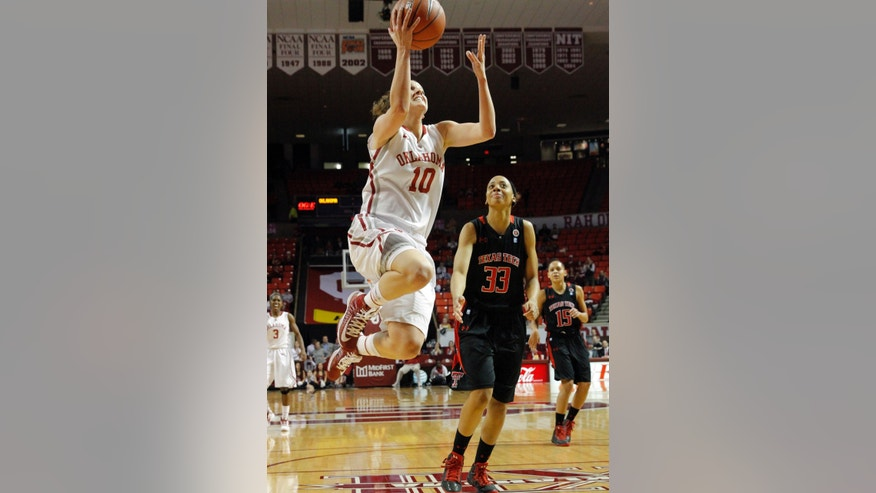 Oklahoma's Morgan Hook (10) drives to the basket on a fast break as Texas Tech's Shauntal Nobles (33) watches during an NCAA college basketball game on Saturday, Jan. 12, 2013, in Norman, Okla. (AP Photo/The Oklahoman, Steve Sisney)  LOCAL TV OUT (KFOR,KOCO,KWTV,KOKH, KAUT OUT); LOCAL INTERNET OUT; LOCAL PRINT OUT (EDMOND SUN, NORMAN TRANSCRIPT, OKLAHOMA GAZETTE, SHAWNEE NEWS-STAR THE JOURNAL RECORD OUT); TABLOIDS OUT