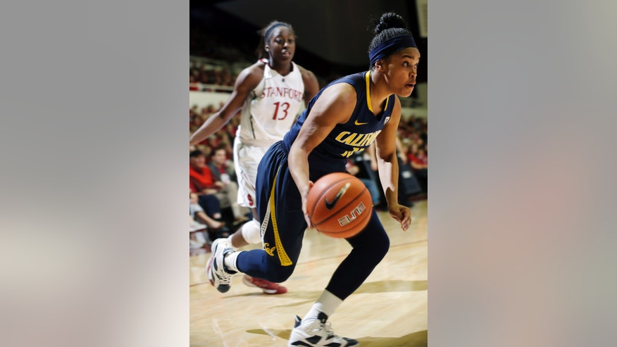 California 's Brittany Boyd (15) dribbles past Stanford 's Chiney Ogwumike (13) during the second half of an NCAA college basketball game in Stanford, Calif., Sunday, Jan. 13, 2013. California won 67-55. (AP Photo/Marcio Jose Sanchez)