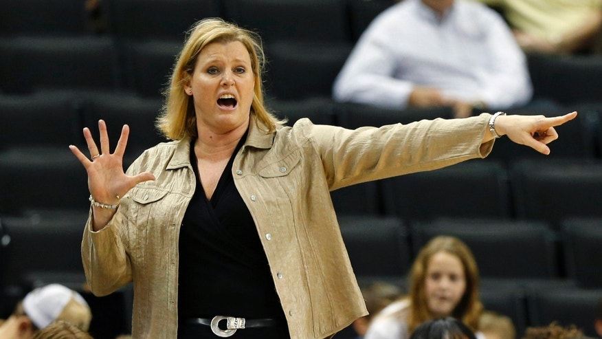 Wake Forest head coach Jen Hoover directs her team against Duke during the second half of an NCAA college basketball game in Winston-Salem, N.C., Sunday, Jan. 13, 2013. Duke won 73-44. (AP Photo/Chuck Burton)