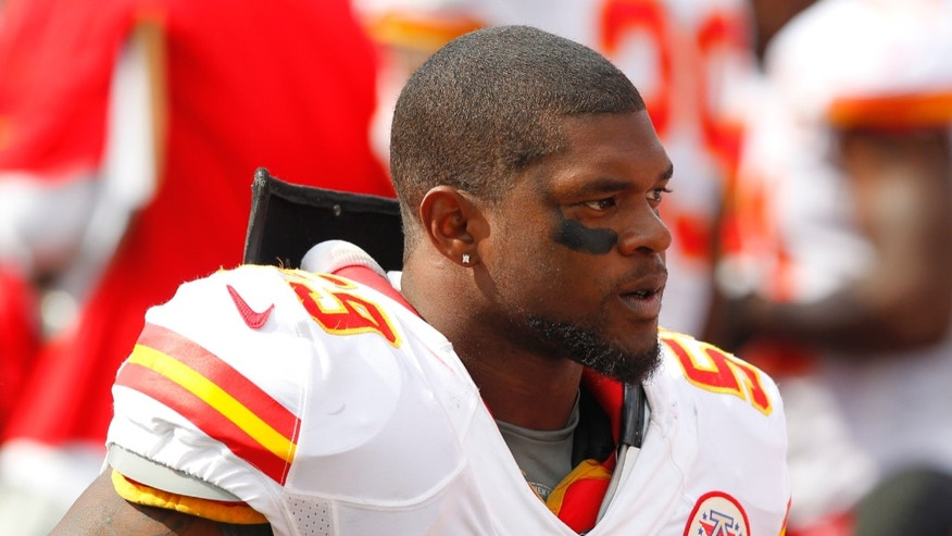 FILE - In this Sept. 16, 2012 file photo, Kansas City Chiefs' Jovan Belcher (59) stands on the sidelines during an NFL football game in Orchard Park, N.Y. A Missouri court on Friday, Jan. 11, 2013, said it would appoint a lawyer to protect the interests of Zoey, the 4-month-old daughter of the late Belcher, as her grandparents argue over custody. Belcher fatally shot Kasandra Perkins on Dec. 1 in their Kansas City home, then drove to Arrowhead Stadium and killed himself in front of coaches and the team's general manager. (AP Photo/Bill Wippert, file)