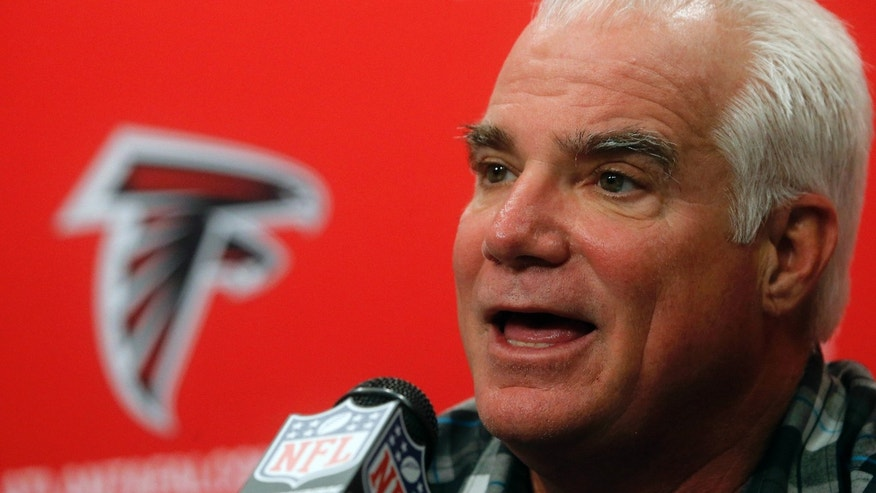 Atlanta Falcons head coach Mike Smith speaks during an NFL football news conference in Flowery Branch, Ga., Monday, Jan. 14, 2013. The Falcons are scheduled to face the San Francisco 49ers in the NFC Championship game on Sunday. (AP Photo/John Bazemore)