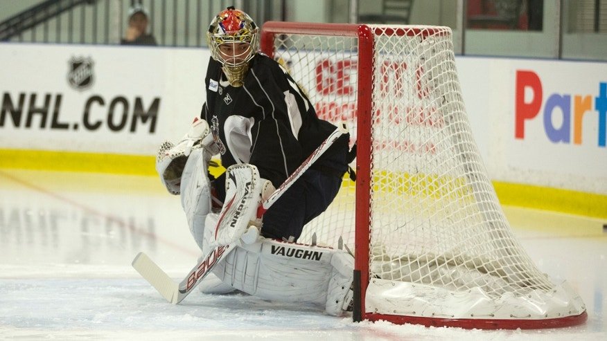 Florida Panthers goalie Jose Theodore watches for pucks during the team's NHL hockey training camp in Coral Springs, Fla. Monday, Jan. 14, 2013. (AP Photo/J Pat Carter)