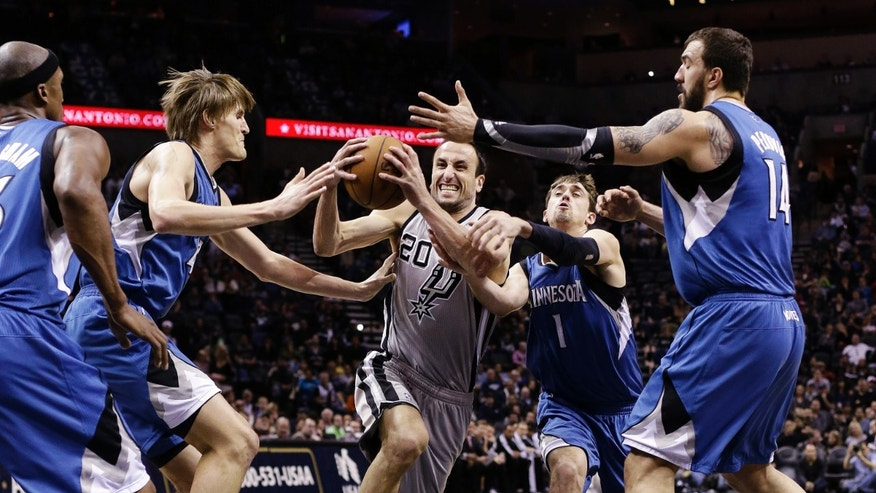 San Antonio Spurs' Manu Ginobili (20), of Argentina, drives between Minnesota Timberwolves', from left, Dante Cunningham, Andrei Kirilenko, of Russia, Alexey Shved and Nikola Pekovic, during the first quarter of an NBA basketball game, Sunday, Jan. 13, 2013, in San Antonio. (AP Photo/Eric Gay)
