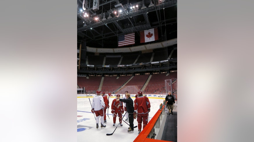 The Phoenix Coyotes participate in their first voluntary skate Sunday, Jan. 13, 2013, in Glendale, Ariz., since the NHL and the players' union agreed to a memorandum of understanding Saturday. The season is scheduled to start Saturday, Jan. 19.  (AP Photo/Matt York)