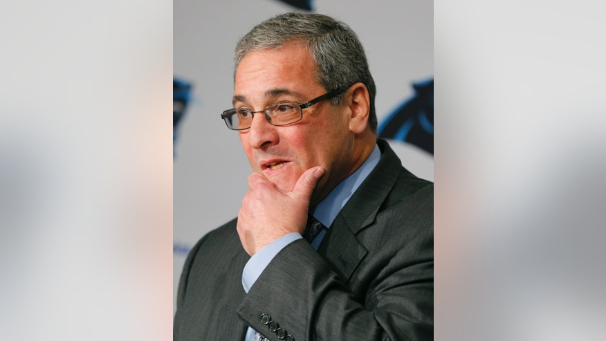 Carolina Panthers' new general manager Dave Gettleman listens to a question  during a news conference for the NFL football team in Charlotte, N.C., Tuesday, Jan. 15, 2013. (AP Photo/Chuck Burton)