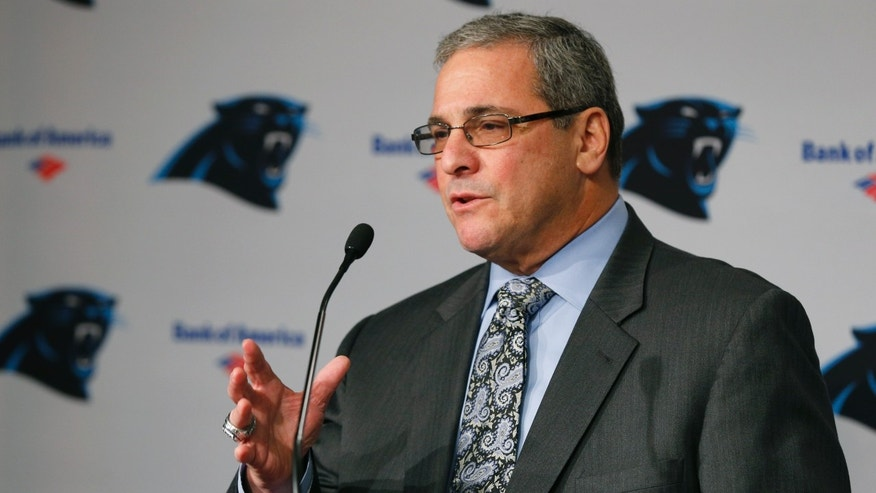 Carolina Panthers' new general manager Dave Gettleman speaks during a news conference for the NFL football team in Charlotte, N.C., Tuesday, Jan. 15, 2013. (AP Photo/Chuck Burton)