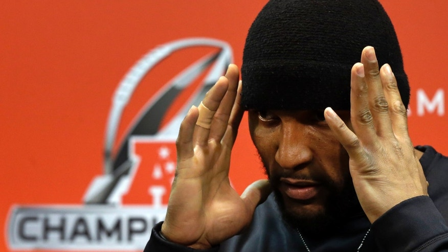 Baltimore Ravens inside linebacker Ray Lewis speaks during a news conference at the team's practice facility in Owings Mills, Md., Wednesday, Jan. 16, 2013. The Ravens are scheduled to face the New England Patriots in the AFC Championship on Sunday. (AP Photo/Patrick Semansky)