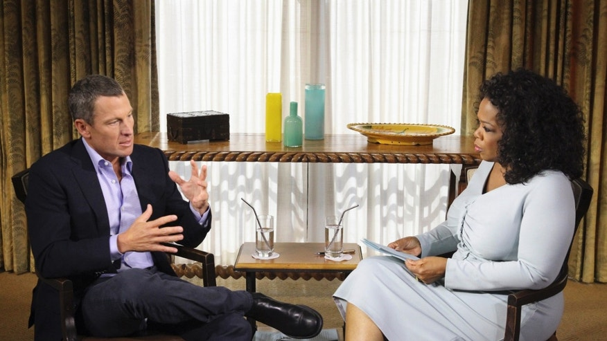 "Jan. 14, 2013: Photo provided by Harpo Studios Inc., shows talk-show host Oprah Winfrey interviewing cyclist Lance Armstrong during taping for the show ""Oprah and Lance Armstrong: The Worldwide Exclusive"" in Austin, Texas."