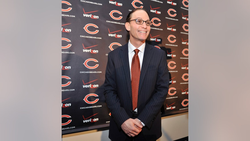 Chicago Bears NFL football team new head coach Marc Trestman smiles during a press conference at Halas Hall, Thursday, Jan. 17, 2013, in Lake Forest,Ill. (AP Photo/Jim Prisching)