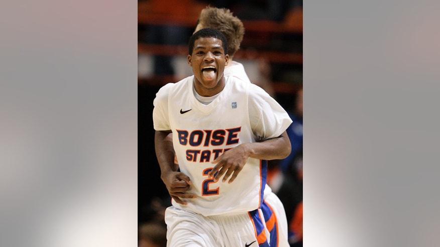 Boise State's Derrick Marks (2) runs downcourt after scoring against New Mexico during the first half of an NCAA college basketball game, Wednesday, Jan. 16, 2013, in Boise, Idaho. (AP Photo/Matt Cilley)