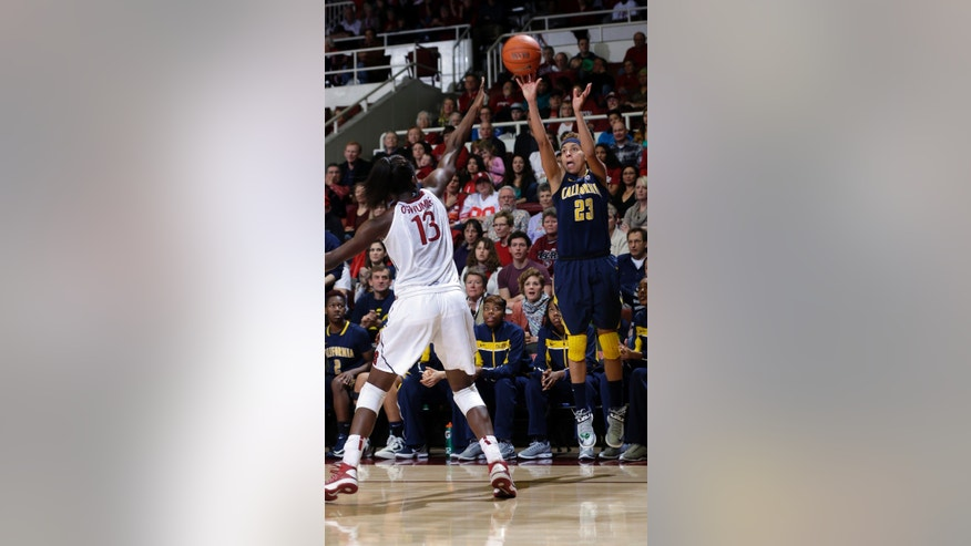 California 's Layshia Clarendon (23) shoots over Stanford 's Chiney Ogwumike (13) during the second half of an NCAA college basketball game in Stanford, Calif., Sunday, Jan. 13, 2013. California won 67-55. (AP Photo/Marcio Jose Sanchez)