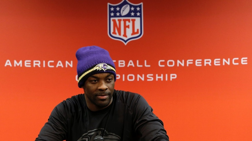 Baltimore Ravens cornerback Corey Graham speaks during a news conference at the team's practice facility in Owings Mills, Md., Wednesday, Jan. 16, 2013. The Ravens are scheduled to face the New England Patriots in the AFC Championship on Sunday. (AP Photo/Patrick Semansky)
