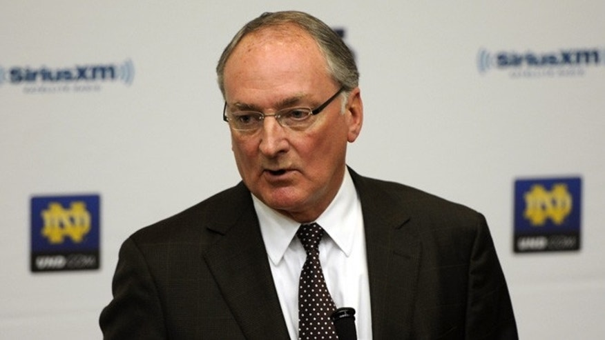 Jan. 16, 2013: Notre Dame Athletic Director Jack Swarbrick speaks to reporters during an NCAA college football news conference regarding a hoax involving linebacker Manti Te'o on Wednesday in South Bend, Ind.  (AP)