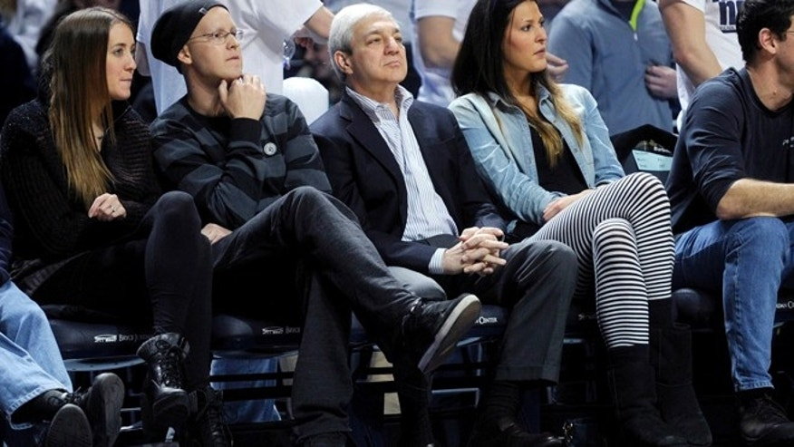Jan. 19, 2013: Former Penn State president Graham Spanier watches the Penn State men's basketball game against Nebraska at the Bryce Jordan Center in State College, Pa.