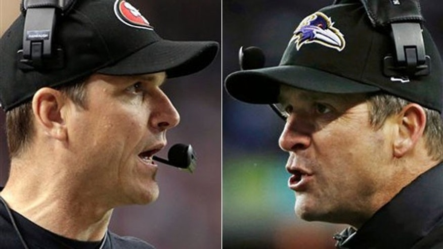 Jan. 20, 2013: San Francisco 49ers head coach Jim Harbaugh, left, in Atlanta, and Baltimore Ravens head coach John Harbaugh in Foxborough, Mass.