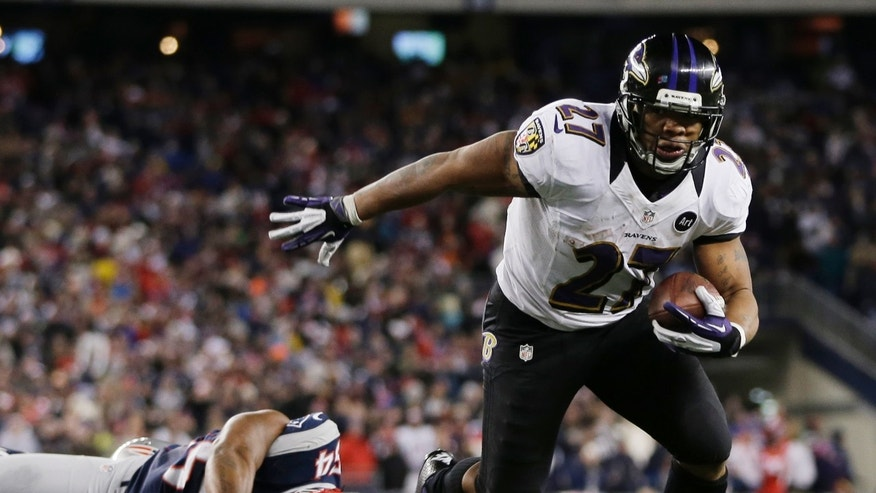 Jan. 20, 2013: Baltimore Ravens running back Ray Rice goes in for a two-yard touchdown run against New England Patriots outside linebacker Donta Hightower (54) during the first half of the NFL football AFC Championship football game in Foxborough, Mass. (AP)
