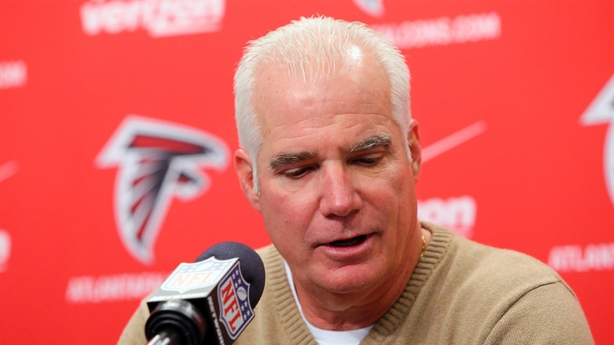 Atlanta Falcons NFL football team head coach Mike Smith speaks during a news conference in Flowery Branch, Ga., Monday, Jan. 21, 2013. The Falcons were defeated 28-24 by the San Francisco 49ers in the NFC Championship game on Sunday. (AP Photo/Atlanta Journal-Constitution, Curtis Compton) MARIETTA DAILY OUT; GWINNETT DAILY POST OUT; LOCAL TV OUT; WXIA-TV OUT; WGCL-TV OUT