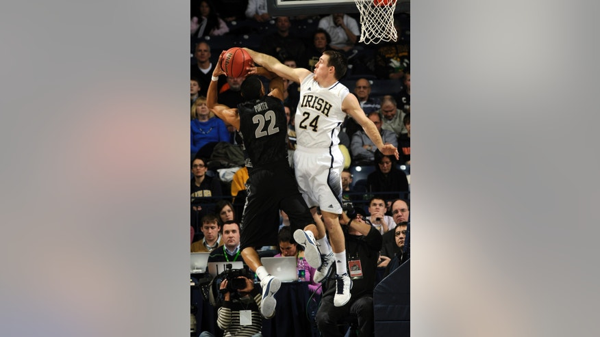 Notre Dame guard Pat Connaughton (24) attempts to block a shot by Georgetown forward Otto Porter during the first half of an NCAA college basketball game, Monday Jan. 21, 2013, in South Bend, Ind. (AP Photo/Joe Raymond)