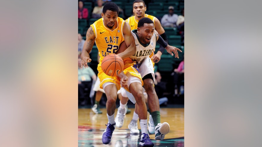 East Carolina's Paris Roberts-Campbell and UAB's Preston Purifoy chase a loose ball in the first half of an NCAA college basketball game at Bartow Arena in Birmingham, Ala., Wednesday, Jan. 23, 2013.  (AP Photo/ AL.com, Mark Almond)