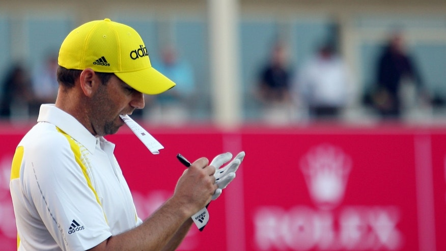 Spain's Sergio Garcia during the third round of the Commercial Bank Qatar Masters held at the Doha Golf Club in Qatar, Friday, Jan. 25, 2013. (AP Photo/Osama Faisal)