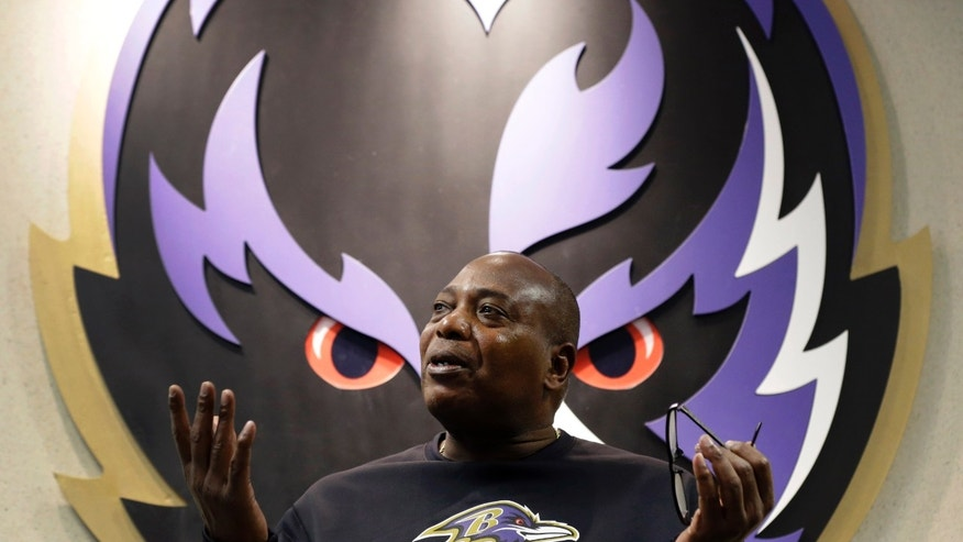Baltimore Ravens general manager and executive vice president Ozzie Newsome speaks at a news conference at the team's practice facility in Owings Mills, Md., Friday, Jan. 25, 2013. The Ravens are scheduled to face the San Francisco 49ers in Super Bowl XLVII in New Orleans on Sunday, Feb. 3. (AP Photo/Patrick Semansky)