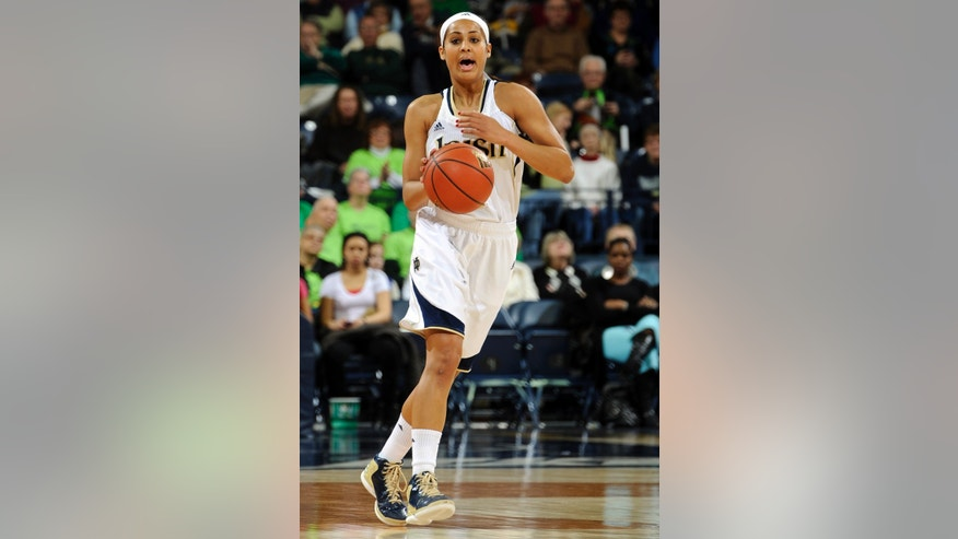 Notre Dame guard Skylar Diggins heads up court in the first half of an NCAA college basketball game against Providence, Saturday, Jan. 26, 2013, in South Bend, Ind. (AP Photo/Joe Raymond)