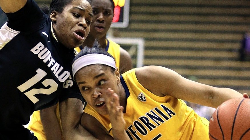 California's Brittany Boyd, right, drives the ball against Colorado's Ashley Wilson (12) in the second half of an NCAA college basketball game, Friday, Jan. 25, 2013, in Berkeley, Calif. (AP Photo/Ben Margot)