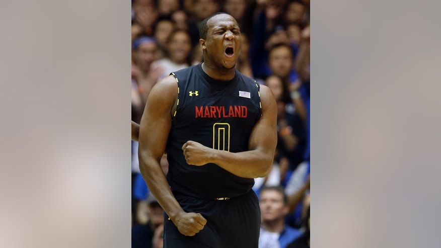 Maryland's Charles Mitchell (0) reacts to a foul during the first half of an NCAA college basketball game against Duke in Durham, N.C., Saturday, Jan. 26, 2013. Duke won 84-64. (AP Photo/Gerry Broome)
