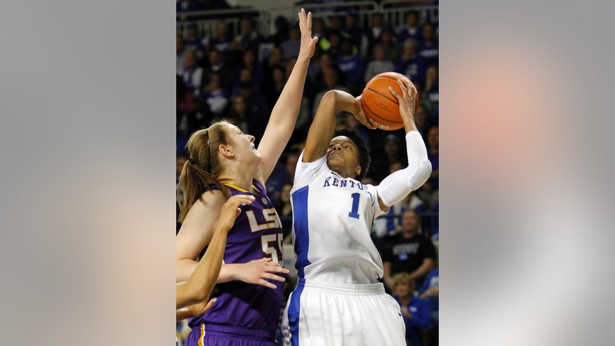Kentucky's A'dia Mathies (1) shoots under pressure from LSU's Theresa Plaisance during the first half of an NCAA college basketball game at Memorial Coliseum in Lexington, Ky., Sunday, Jan. 27, 2013. (AP Photo/James Crisp)