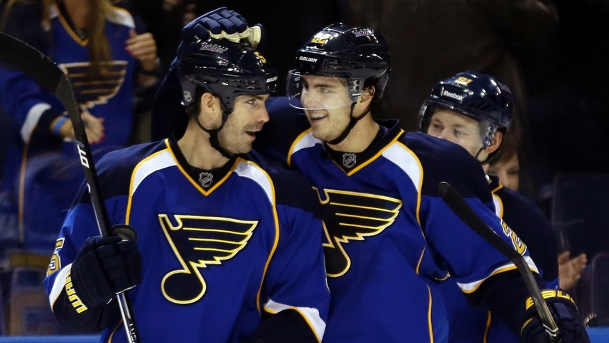 St. Louis Blues' Barret Jackman, left, is congratulated by teammate Kevin Shattenkirk after scoring during the third period of an NHL hockey game against the Minnesota Wild Sunday, Jan. 27, 2013, in St. Louis. The Blues won 5-4 in overtime. (AP Photo/Jeff Roberson)