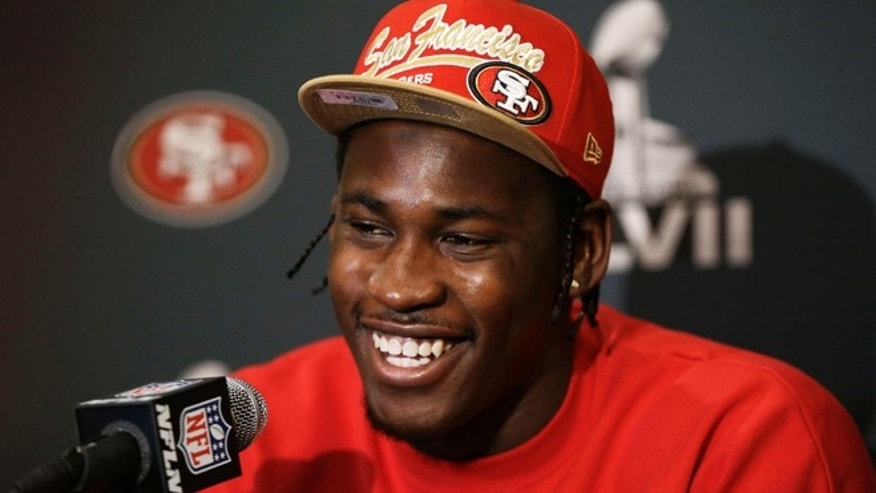 Jan. 28, 2013: San Francisco 49ers linebacker Aldon Smith at news conference in New Orleans before NFL Super Bowl XLVII football game.