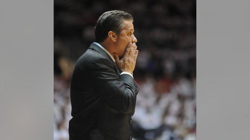 Kentucky coach John Calipari reacts during an NCAA college basketball game Tuesday, Jan. 29, 2013, in Oxford, Miss. (AP Photo/Oxford Eagle, Bruce Newman) MANDATORY CREDIT  MAGS OUT  NO SALES