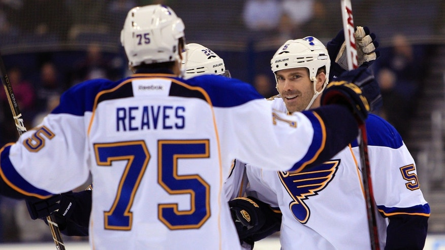 St. Louis Blues' Barret Jackman, right, celebrates his goal against the Columbus Blue Jackets with teammate Ryan Reaves during the first period of an NHL hockey game Thursday, Jan. 31, 2013, in Columbus, Ohio. (AP Photo/Jay LaPrete)